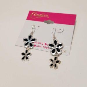 🛍Candies Black & Silver Daisy Drop Earrings